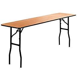 Flash Furniture Rectangular Wood Folding Table in Natural