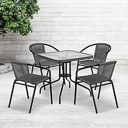Flash Furniture 5-Piece Indoor/Outdoor 28-Inch Square Rattan Dining Set
