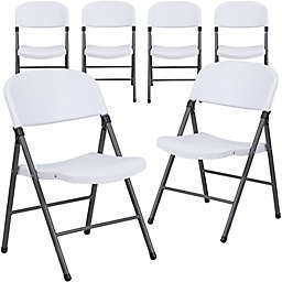 Flash Furniture Plastic Folding Chair in Grey/White (Set of 6)