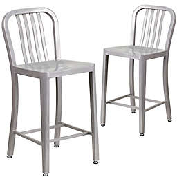 Flash Furniture 24-Inch Metal Stool with Back (Set of 2)