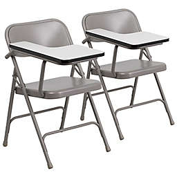 Flash Furniture 30-Inch Steel Folding Chairs with Right Handed Tablet Arms in Beige (Set of 2)