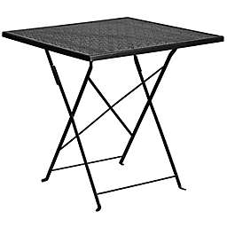 Flash Furniture 28-Inch Square Folding Patio Table in Black