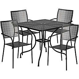 Flash Furniture Steel Indoor/Outdoor 35.5-Inch Square/Square-Back Dining Set