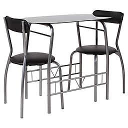 Flash Furniture Sutton 3-Piece Metal and Glass Bistro Set in Black