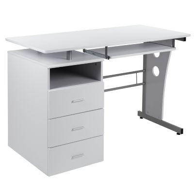 3 Drawer Pedestal Computer Desk, Flash Furniture Black Glass Computer Desk With 3 Drawer Pedestal