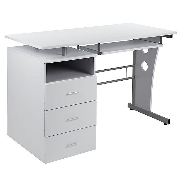 3 Drawer Pedestal Computer Desk, Flash Furniture Computer Desk With 3 Drawer Pedestal