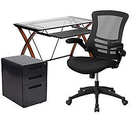 Flash Furniture 3-Piece Glass Desk, Mesh Office Chair, and Filing Cabinet Set