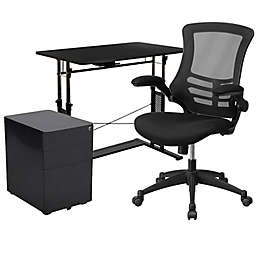 Black Desk, Mesh Office Chair, Filing Cabinet Set