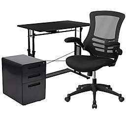Flash Furniture 3-Piece Desk, Mesh Office Chair and Filing Cabinet Set in Black