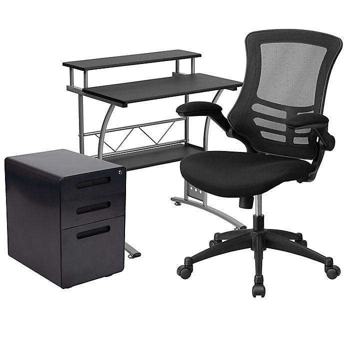 Alternate image 1 for Flash Furniture 3-Piece Black Desk, Mesh Office Chair, and Filing Cabinet Set