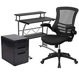 Flash Furniture 3-Piece Black Desk, Mesh Office Chair, and Filing Cabinet Set