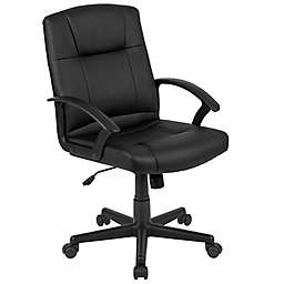 Flash Furniture Mid-Back Faux Leather Office Chair in Black