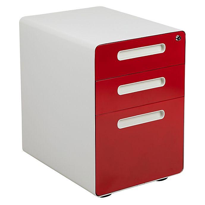 Alternate image 1 for Flash Furniture Ergonomic 3-Drawer Mobile Filing Cabinet
