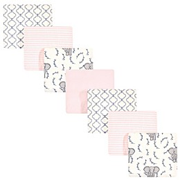Touched By Nature Elephant 7-Pack Organic Cotton Flannel Blanket in Pink