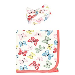 Touched by Nature® 2-Piece Butterflies Organic Cotton Swaddle Blanket and Headband Set