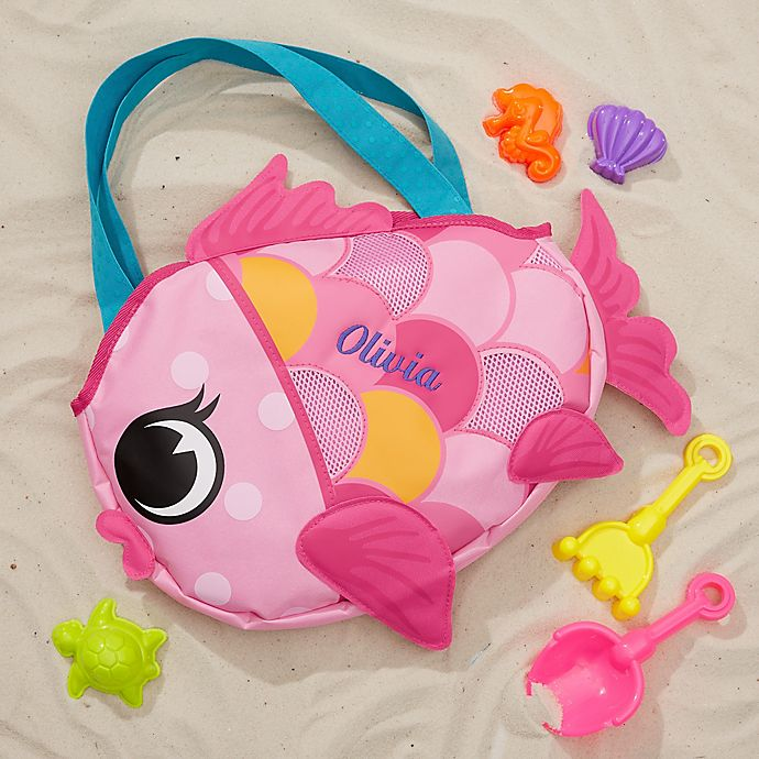 Alternate image 1 for Embroidered Fish Beach Tote & Toy Set