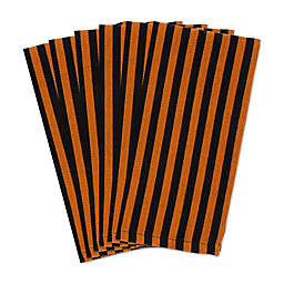 DII® Oversized Witchy Stripe Napkins in Black/Orange (Set of 6)