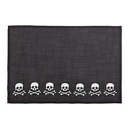 Skulls Embroidered Halloween Placemats in Black/White (Set of 4)
