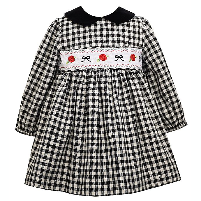 Alternate image 1 for Bonnie Baby Size 3-6M Gingham Dress with Diaper Cover in Black/White