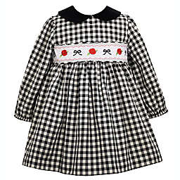 Bonnie Baby Size 6-9M Gingham Dress with Diaper Cover in Black/White