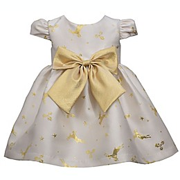 Bonnie Baby Reindeer Dress in Ivory/Gold