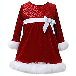 Bonnie Baby Red Velvet Dress with Faux Fur