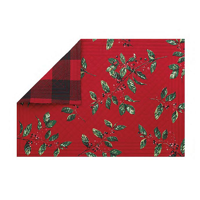 Alternate image 1 for Bee & Willow™ Home Buffalo Plaid/Holiday Berries Reversible Placemat (Set of 2)