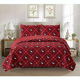 Harper Lane Rudolph 3-Piece Reversible Quilt Set in Red