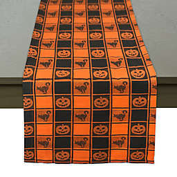 Halloween Woven 72-Inch Table Runner in Black/Orange