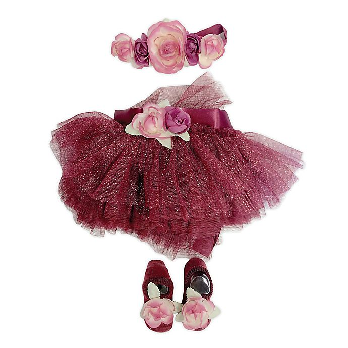 Alternate image 1 for Toby Signature™ Size 0-6M Glitter Floral Headband, Tutu, and Shoe Set in Berry