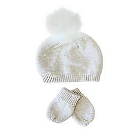 NYGB™ 2-Piece Faux Fur Pom Hat and Mitten Set in Stone