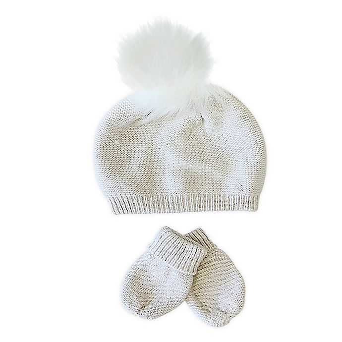 Alternate image 1 for NYGB™ Infant 2-Piece Faux Fur Pom Hat and Mitten Set in Stone