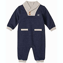Calvin Klein Long Sleeve Coverall in Navy