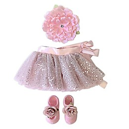 Toby Signature™ Size 0-4M Flower Heart Sequins Tutu, Headband, and Shoe Set in Pink