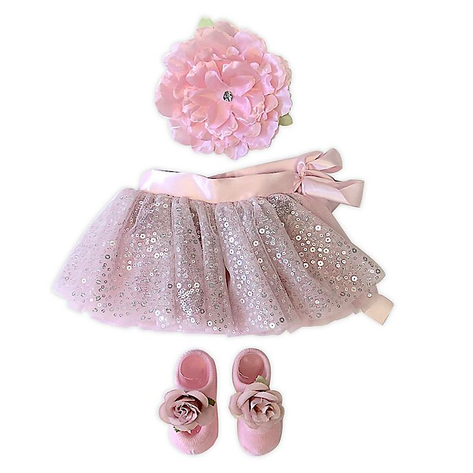 Alternate image 1 for Toby Signature™ Size 0-4M Flower Heart Sequins Tutu, Headband, and Shoe Set in Pink