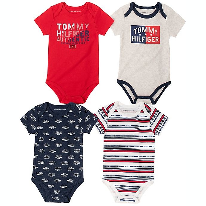 Alternate image 1 for Tommy Hilfiger® 4-Pack Patterned Bodysuits in Red