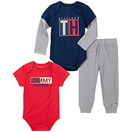 Tommy Hilfiger® 3-Piece Bodysuit and Pant Set in Red/Navy