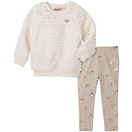 Juicy Couture® 2-Piece Faux Fur Shirt and Pant Set in Ivory