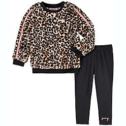 Juicy Couture® 2-Piece Logo Shirt and Pant Set in Pink/Taupe