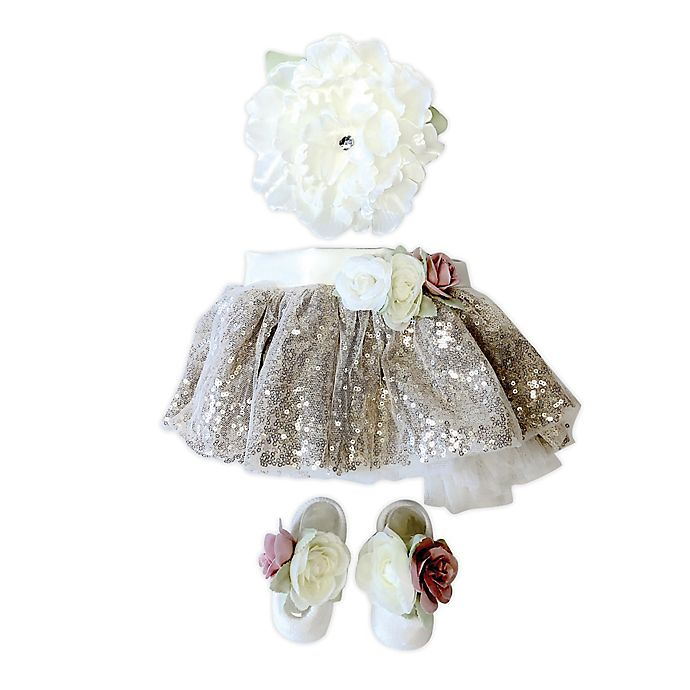 Alternate image 1 for Toby Signature™ Size 0-6M Floral Sequins Headband, Tutu, and Shoe Set in Gold/White