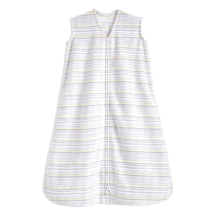 Alternate image 1 for HALO® SleepSack® Medium Stripe Fleece Wearable Blanket in Grey