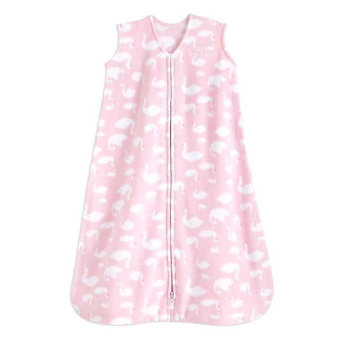 Alternate image 1 for HALO® SleepSack® Medium Swan Fleece Wearable Blanket in Pink