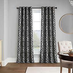 Casual Luxe Talya Scroll 95-Inch Grommet Room Darkening Curtain Panel in Pewter (Single)