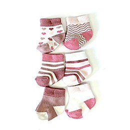 NYGB™ 6-Pack Stripes, Stars, and Hearts Socks in Pink