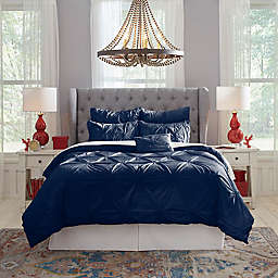 Pointehaven Knotted Pintuck 6-Piece Full Comforter Set in Navy