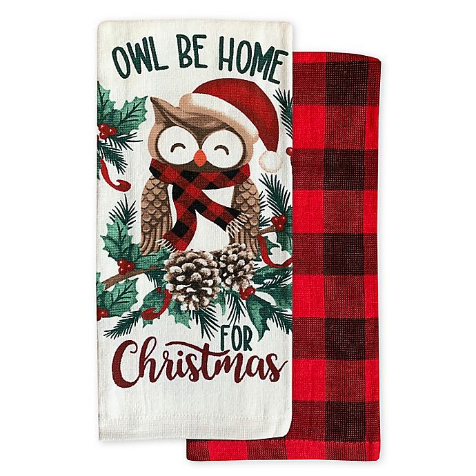 Owl Christmas Kitchen Towels Set Of 2 Bed Bath Beyond