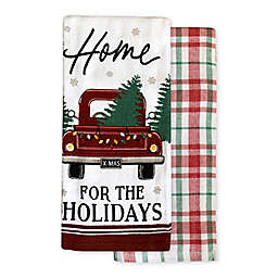 Christmas Snowy Red Truck Kitchen Towels (Set of 2)
