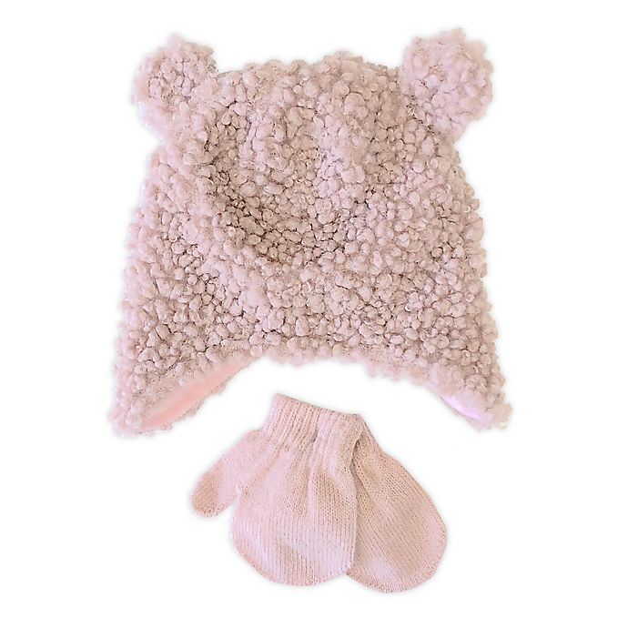 Alternate image 1 for Toby Fairy™ Newborn 2-Piece Sherpa Bear Hat and Mitten Set in Pink