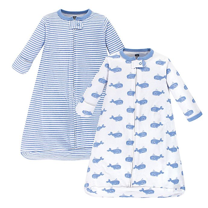 Alternate image 1 for Hudson Baby® 2-Pack Whale Long Sleeve Sleeping Bag in Blue