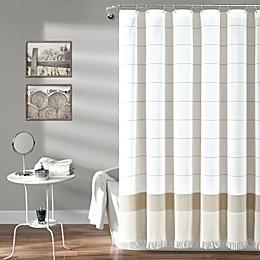 Lush Decor Yarn Dyed Striped Shower Curtain with Tassel Fringe